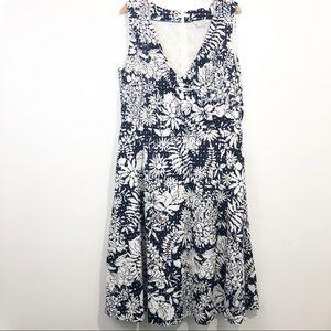 Boden Tropical Eyelet Floral V Neck Summer Dress